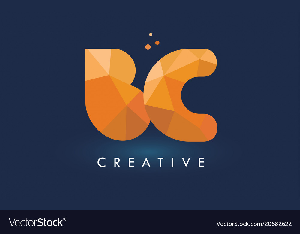 Bc letter with origami triangles logo creative vector image