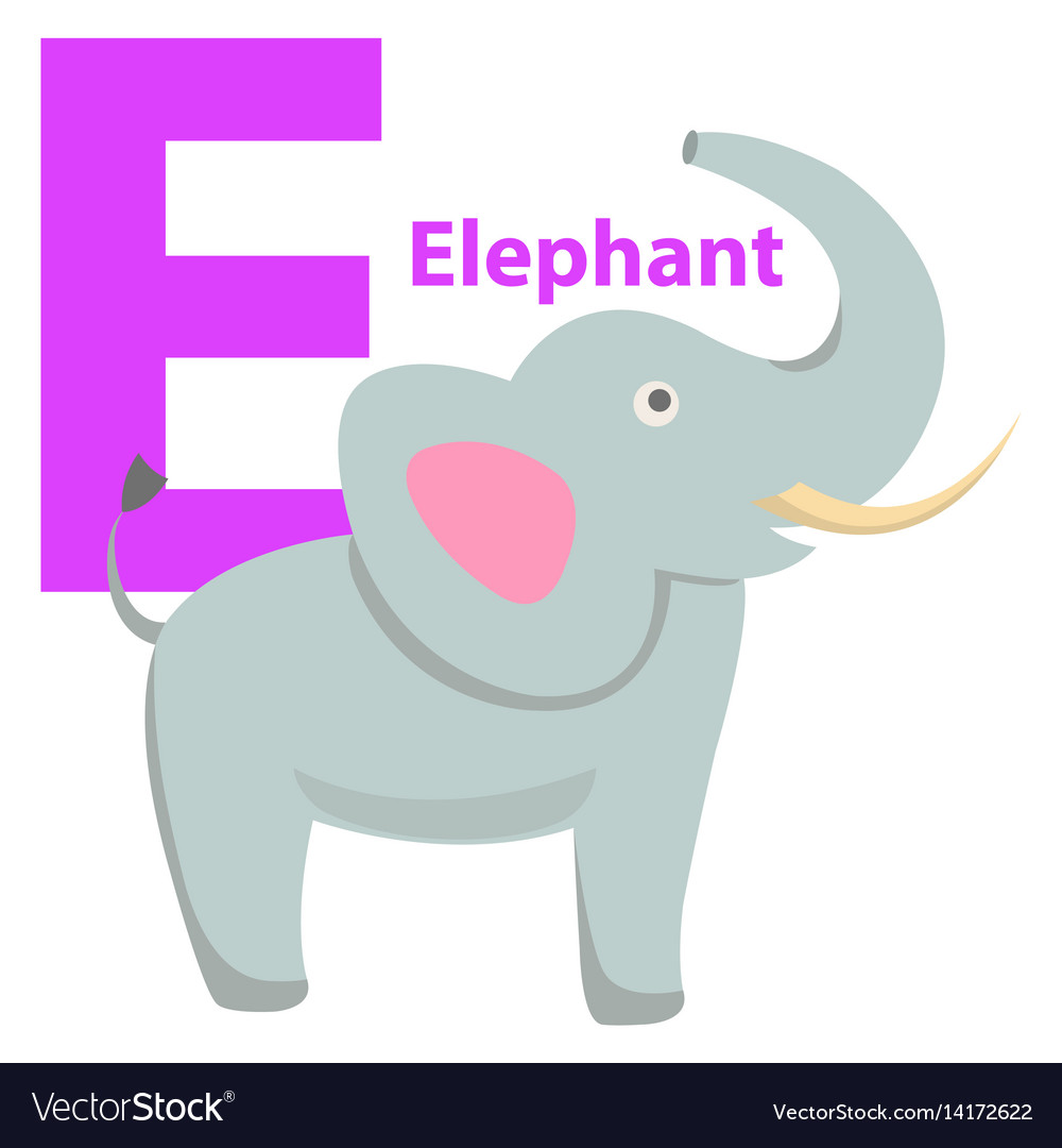 Children s alphabet icon cartoon elephant letter e