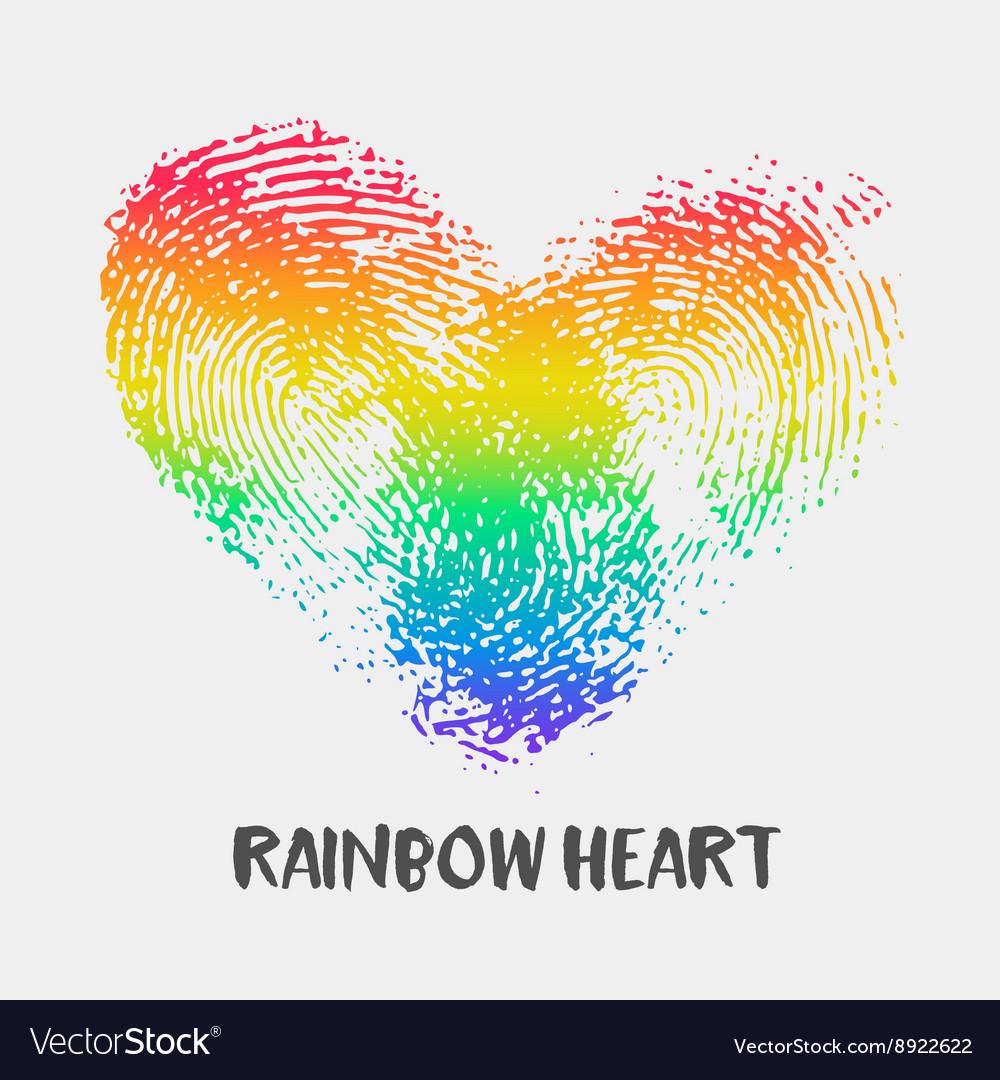 Conceptual logo with fingerprint rainbow heart