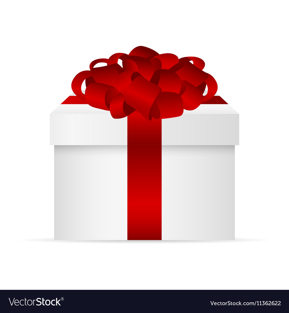 Gift in a box with red bow vector image