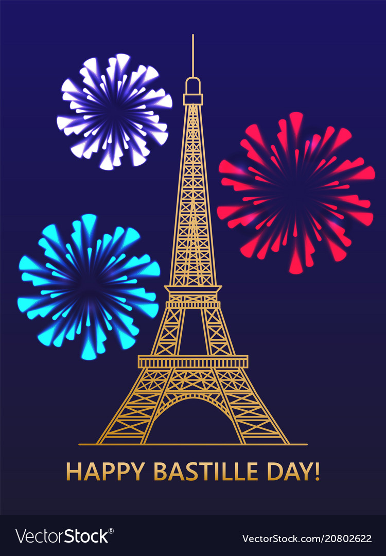 happy bastille day eiffel tower fireworks vector image