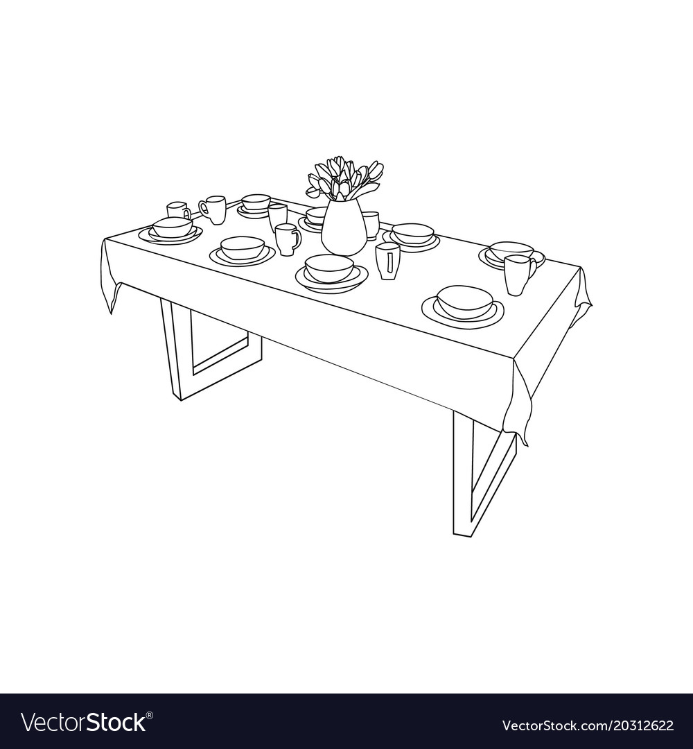 Isolated table and tableware on the table vase of