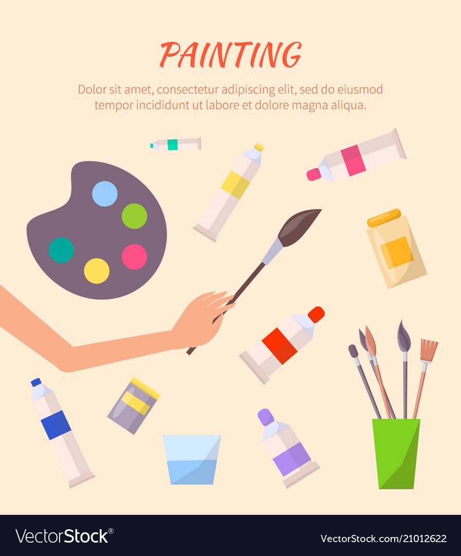 Painting poster with watercolor palette with tubes