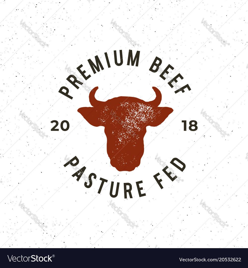 Premium fresh beef label retro styled meat shop