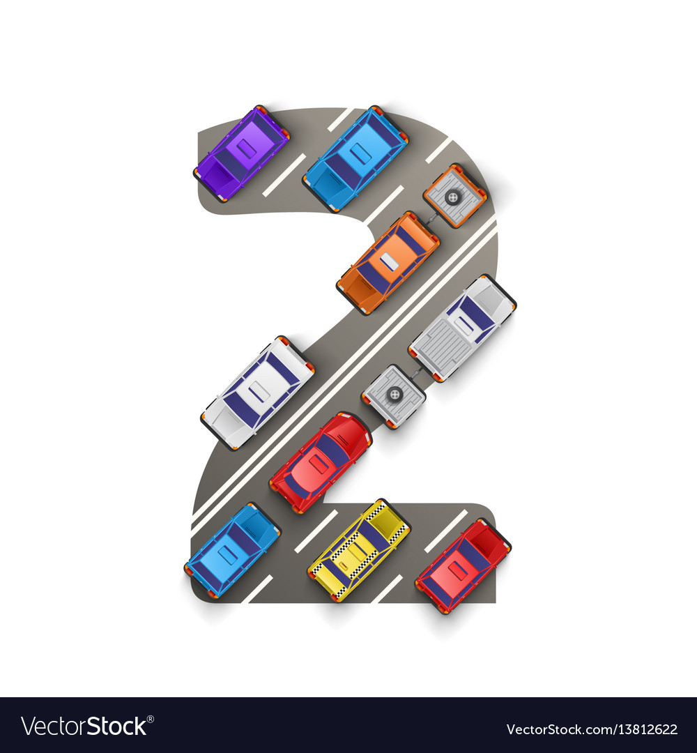Road with cars in the form of number two