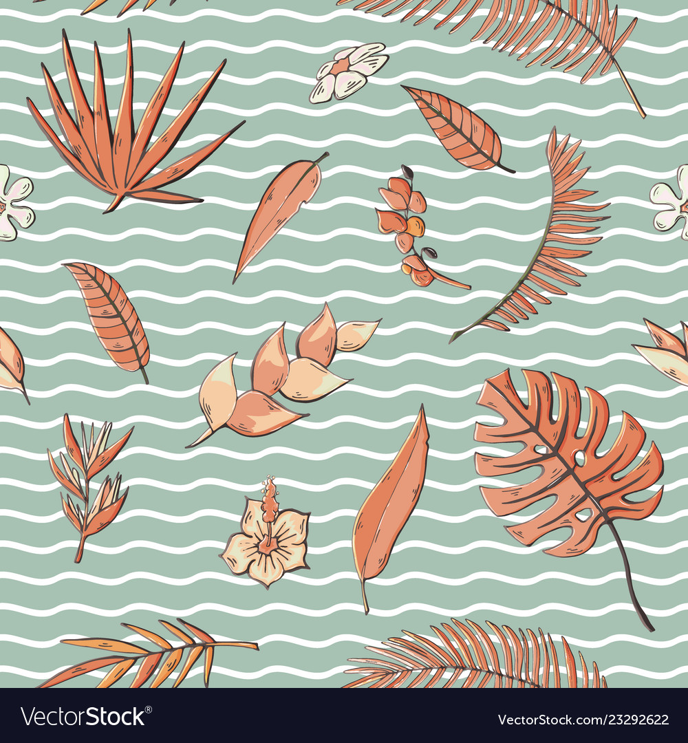 Seamless pattern with tropical elements