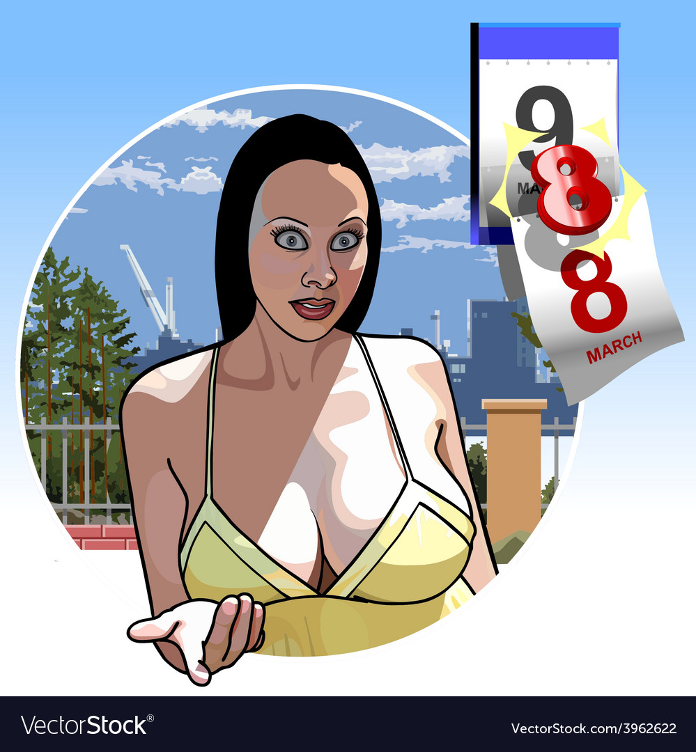 Sexy girl with big breasts eighth of March vector image