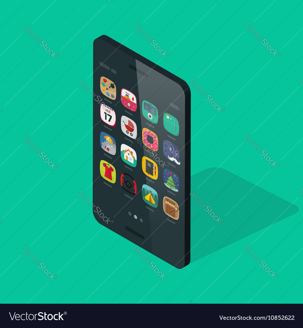 Smartphone isometric isolated on colorful