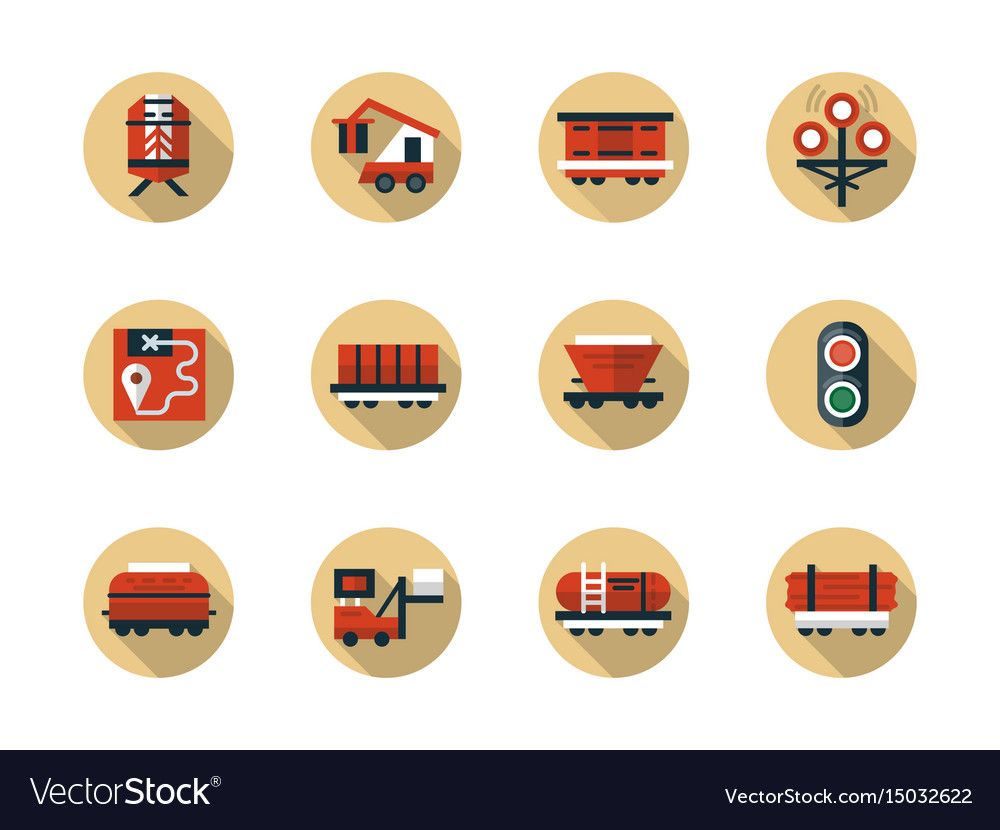 Train cargo shipment round flat beige icons vector image