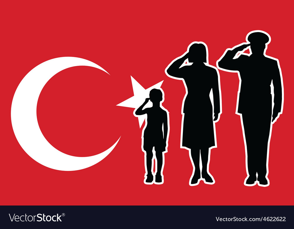 Turkey soldier family salute vector image