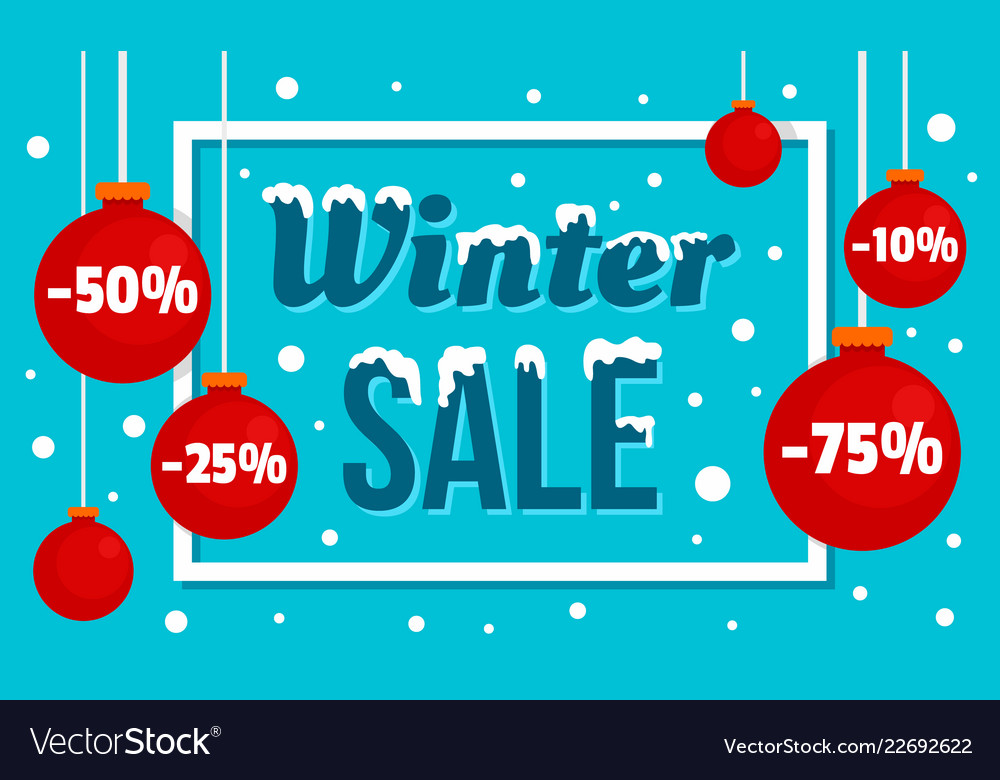 Winter sale concept banner flat style