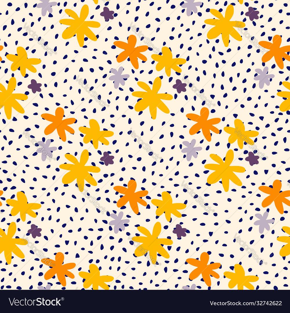 Yellow and orange daisy flowers seamless pattern