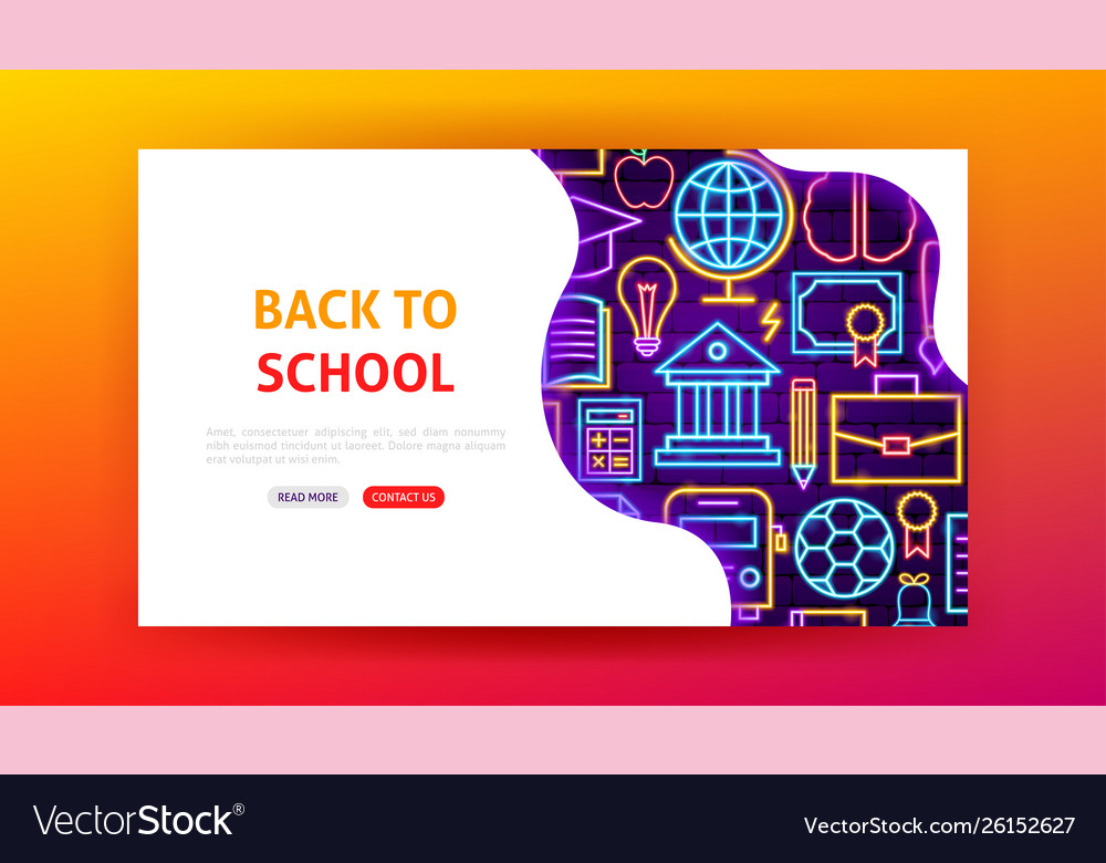 Back to school neon landing page