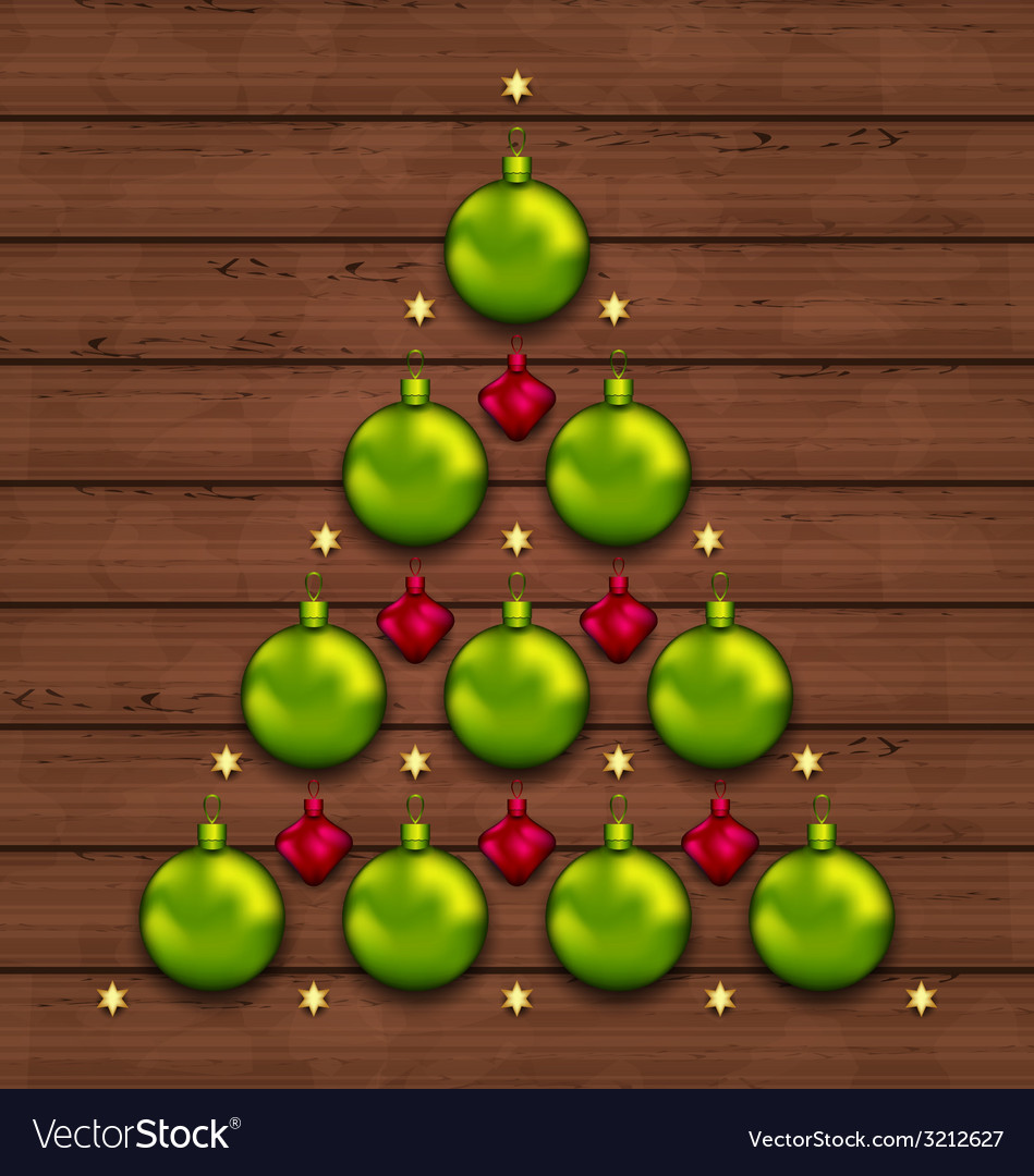 Christmas tree made of baubles on wooden vector image