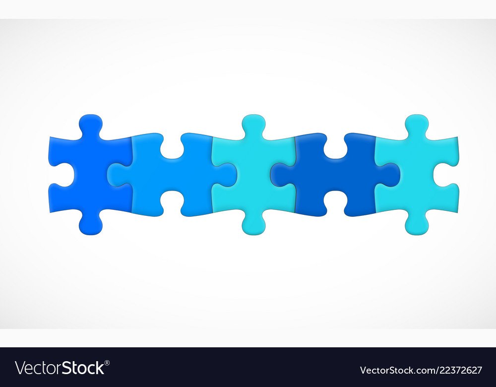Five piece puzzle connected in line solution