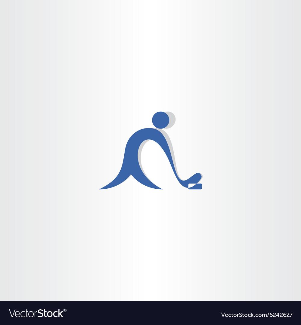 Hockey player logo blue icon