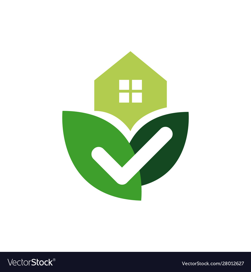 House with check mark template for healthy home