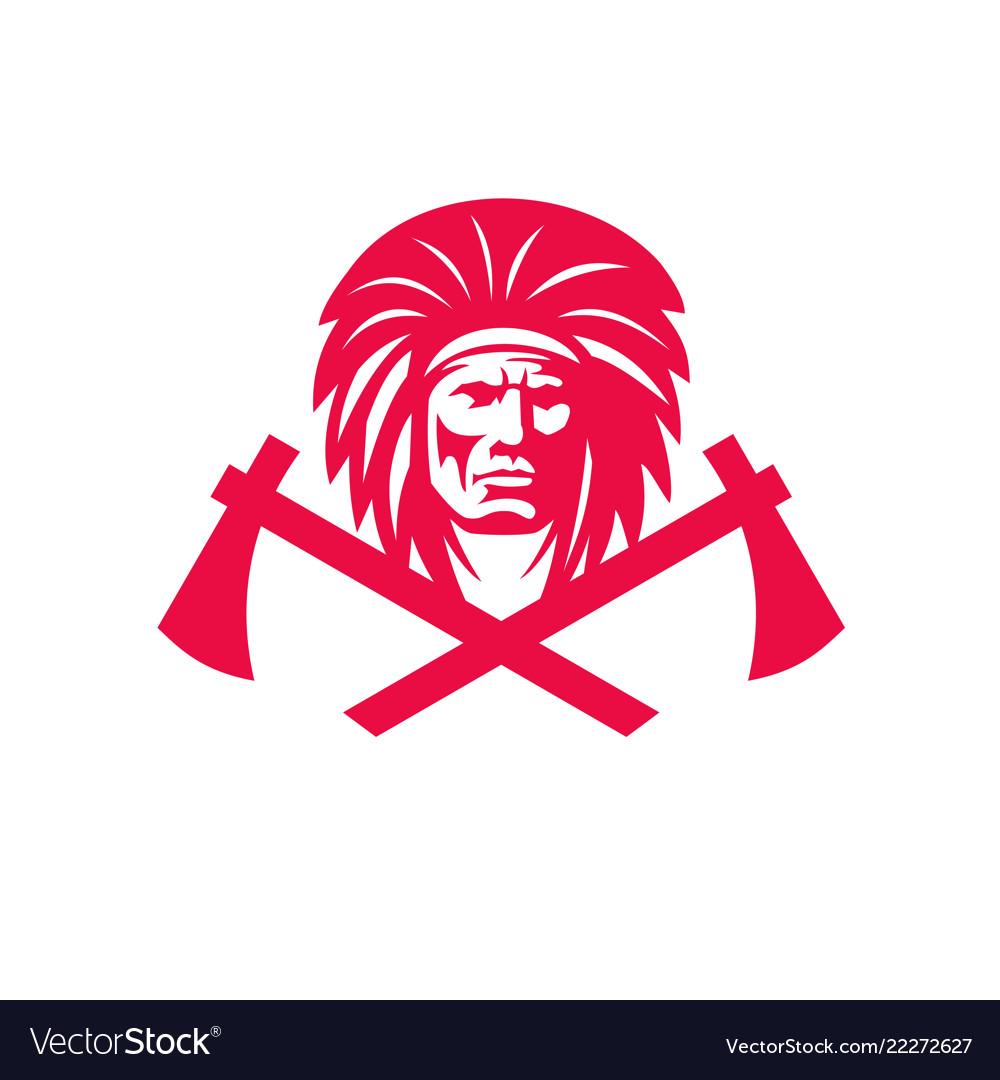 Native american crossed tomahawk mascot