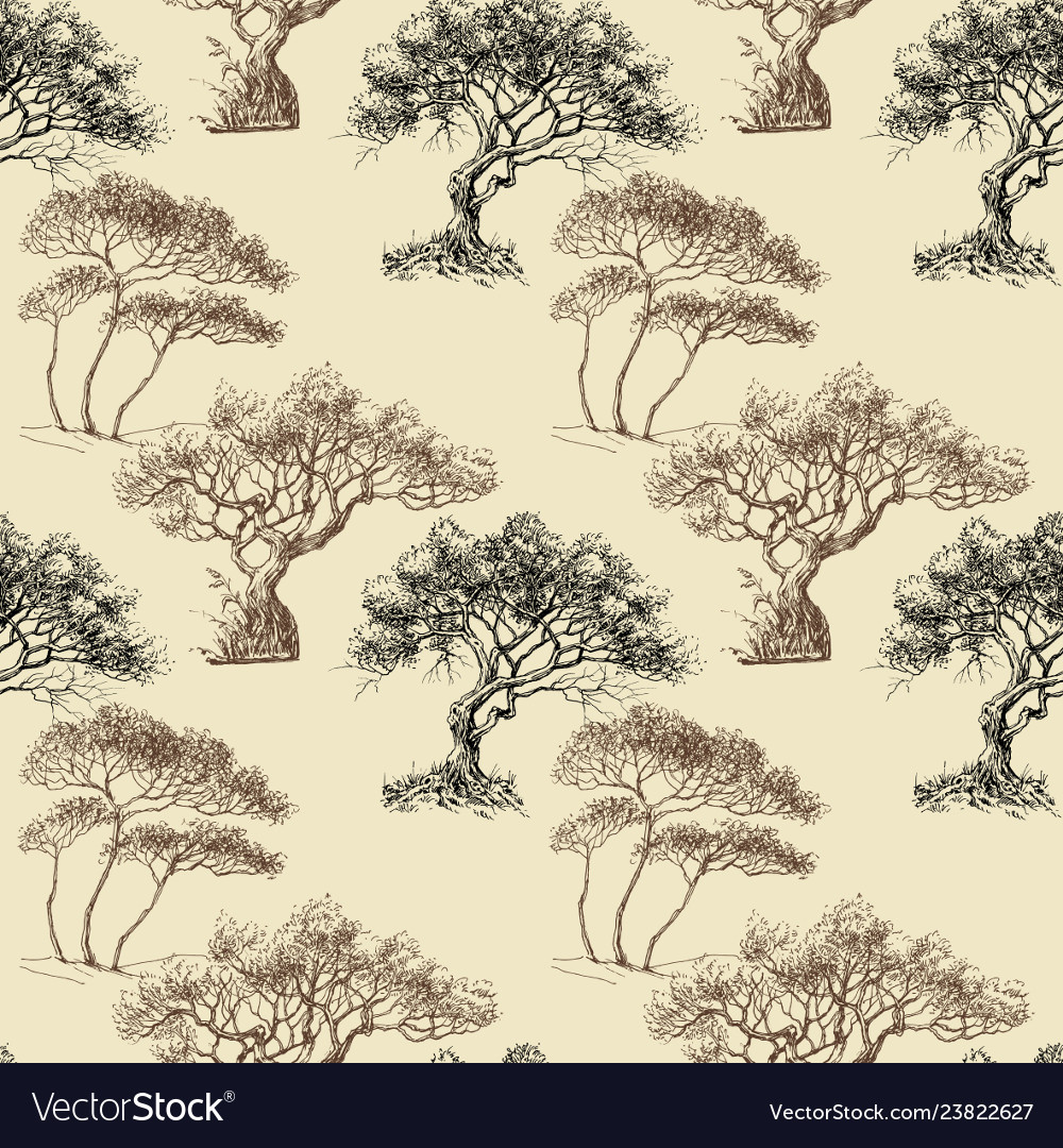 Olive trees seamless pattern