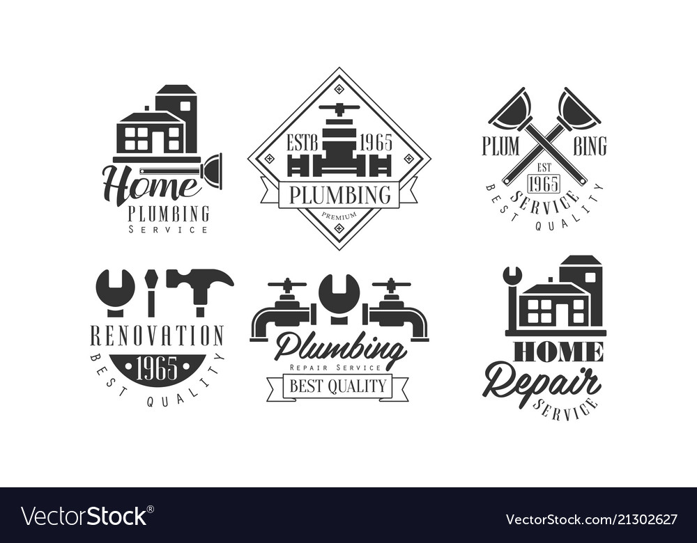 Original monochrome emblems for plumbing and home