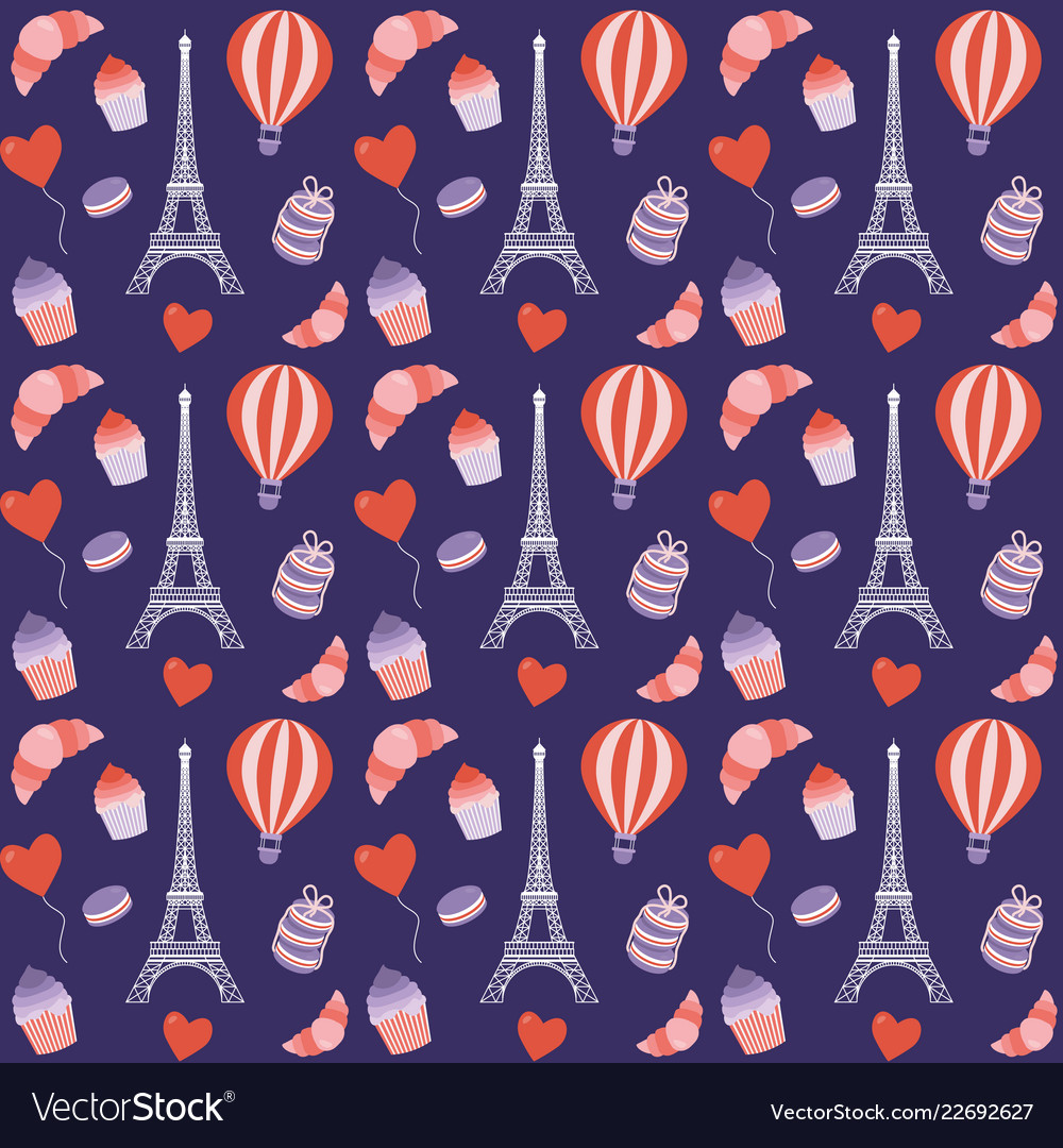 Paris seamless pattern with eiffel tower