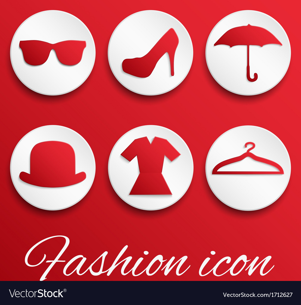 Red fashion realistic button set