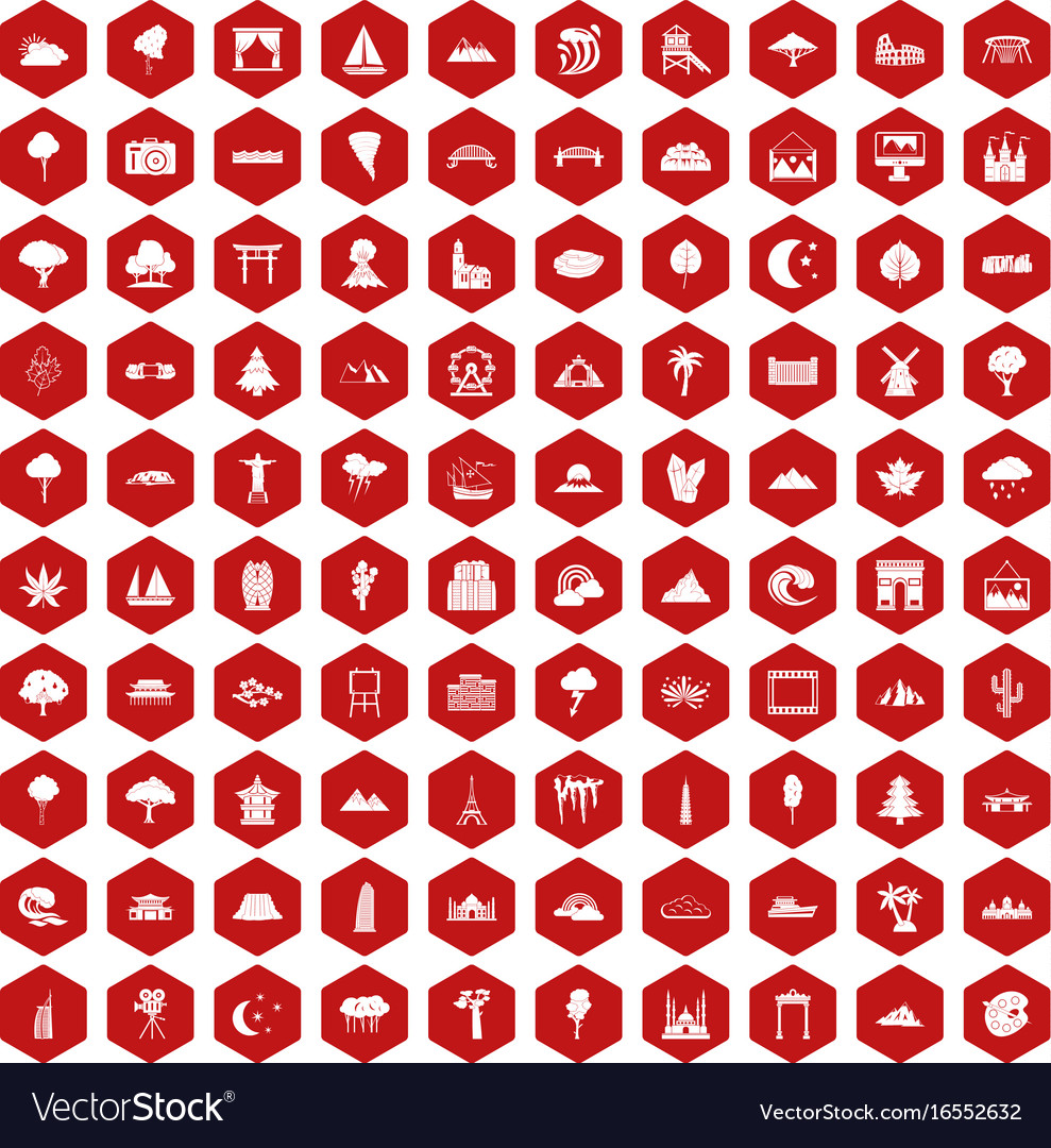 100 view icons hexagon red