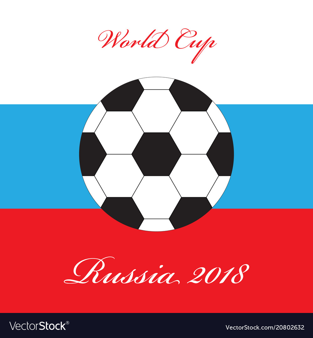 Abstract foot ball icon over russian flag