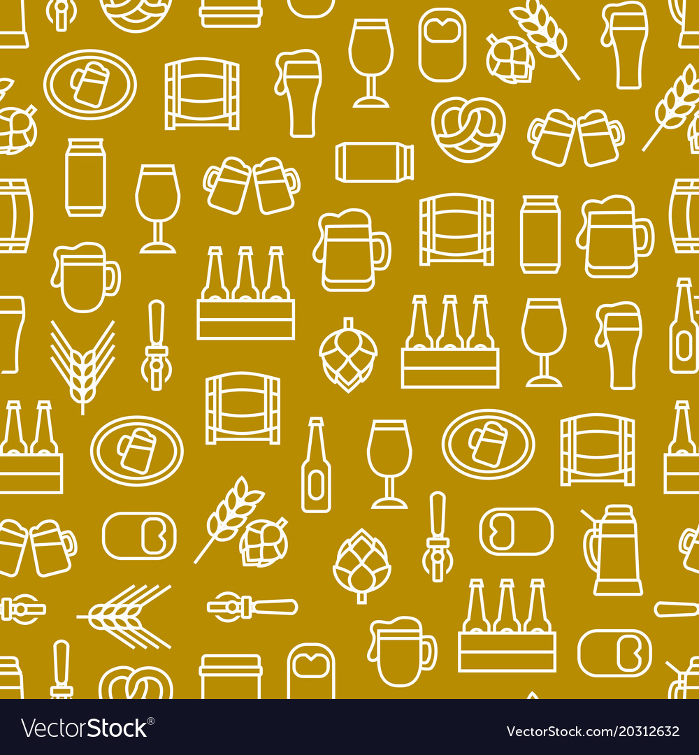 Beer alcohol drink thin line seamless pattern