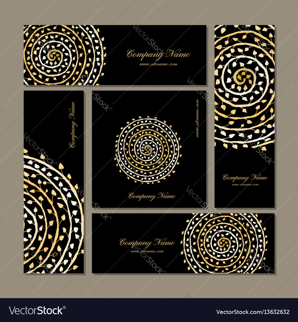 Business cards collection golden mandala design