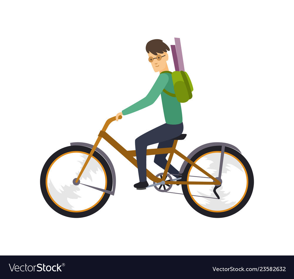 Character of happy man on bicycle isolated