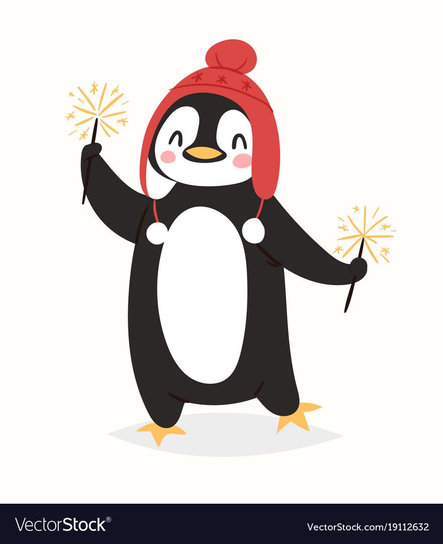 Christmas penguin character cartoon cute