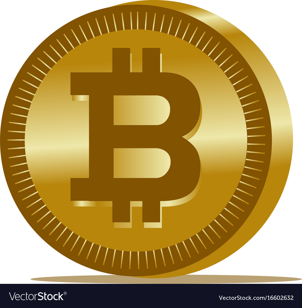 Gold bitcoin coin icon