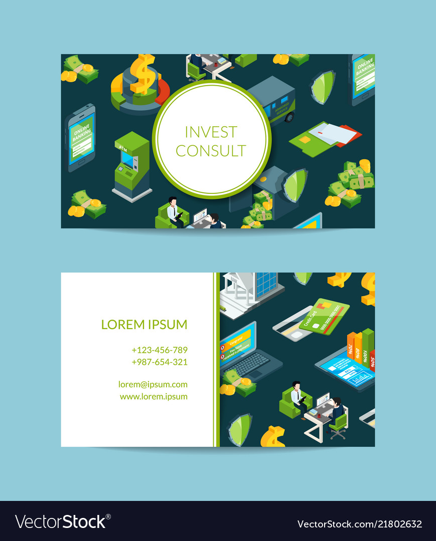 Isometric money in bank business card