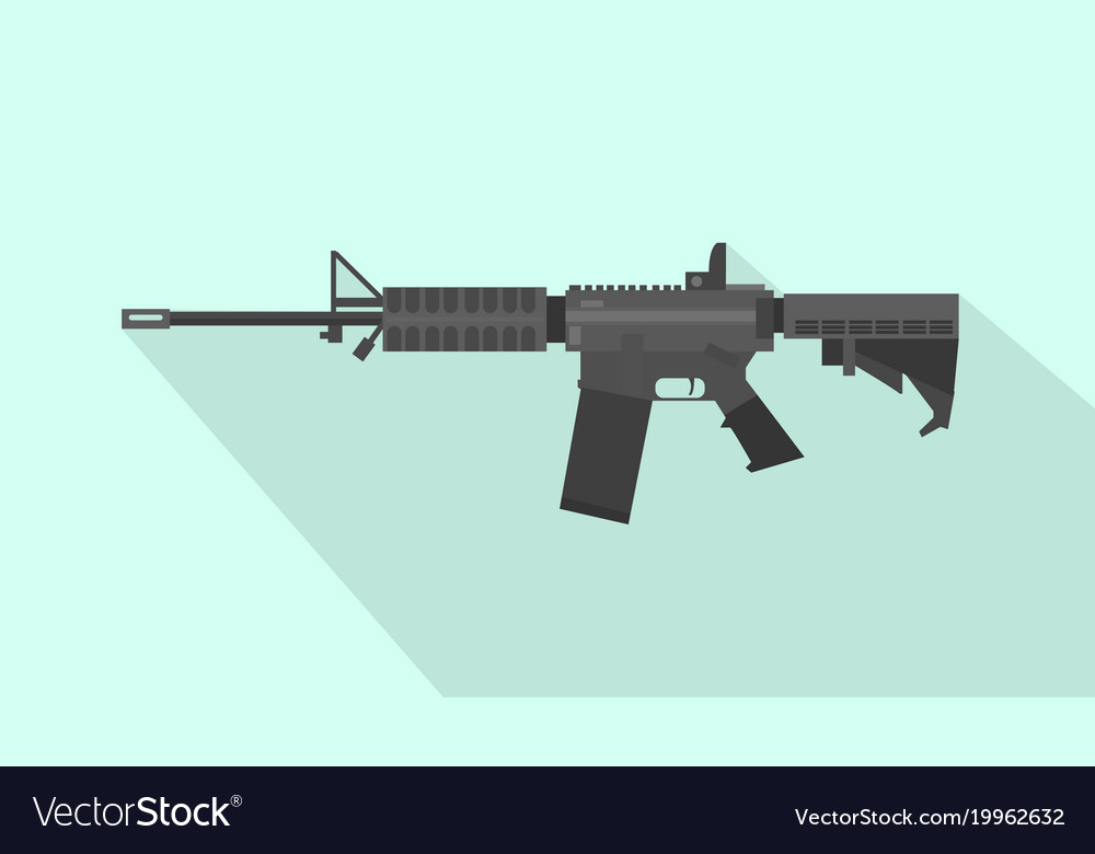 m4 carbine riffle gun with flat style and long vector image  vectorstock