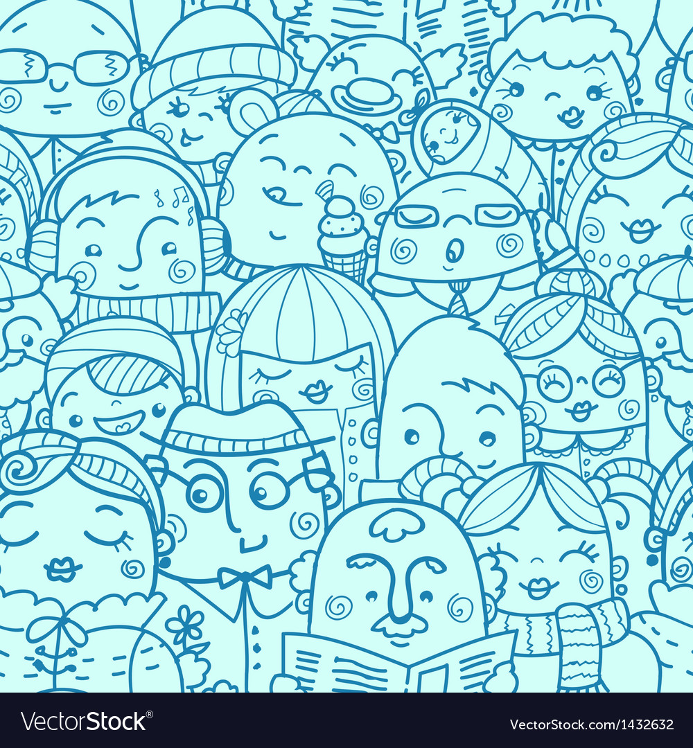 People in a crowd seamless pattern background