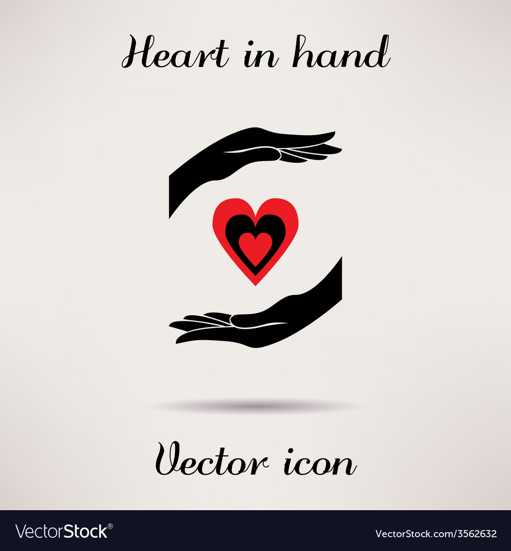 Pictograph of heart in hand icon Template for