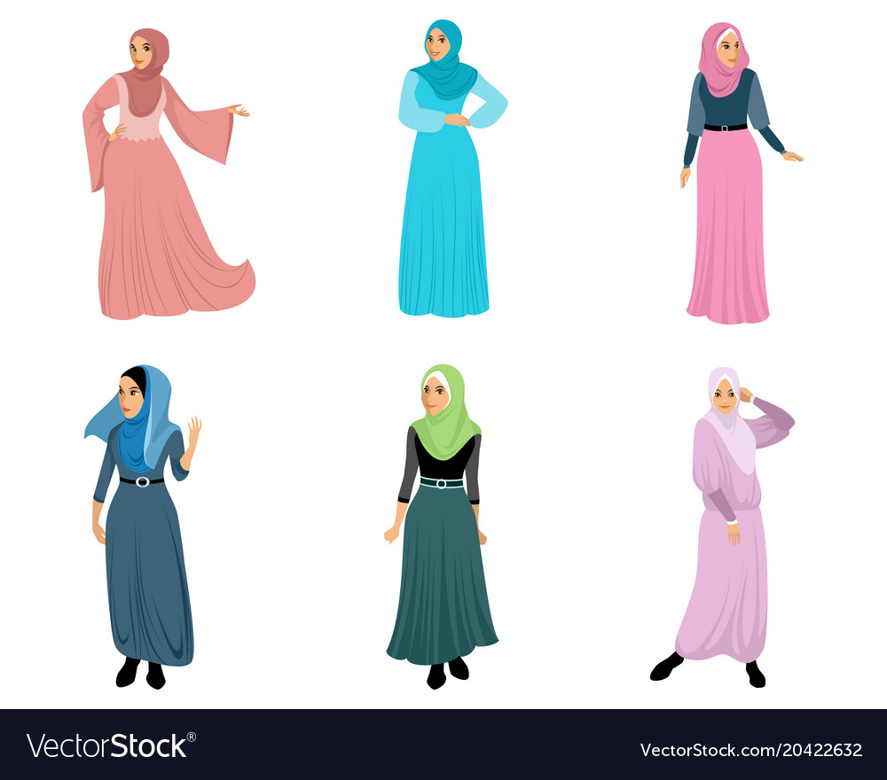 Set of six muslim women
