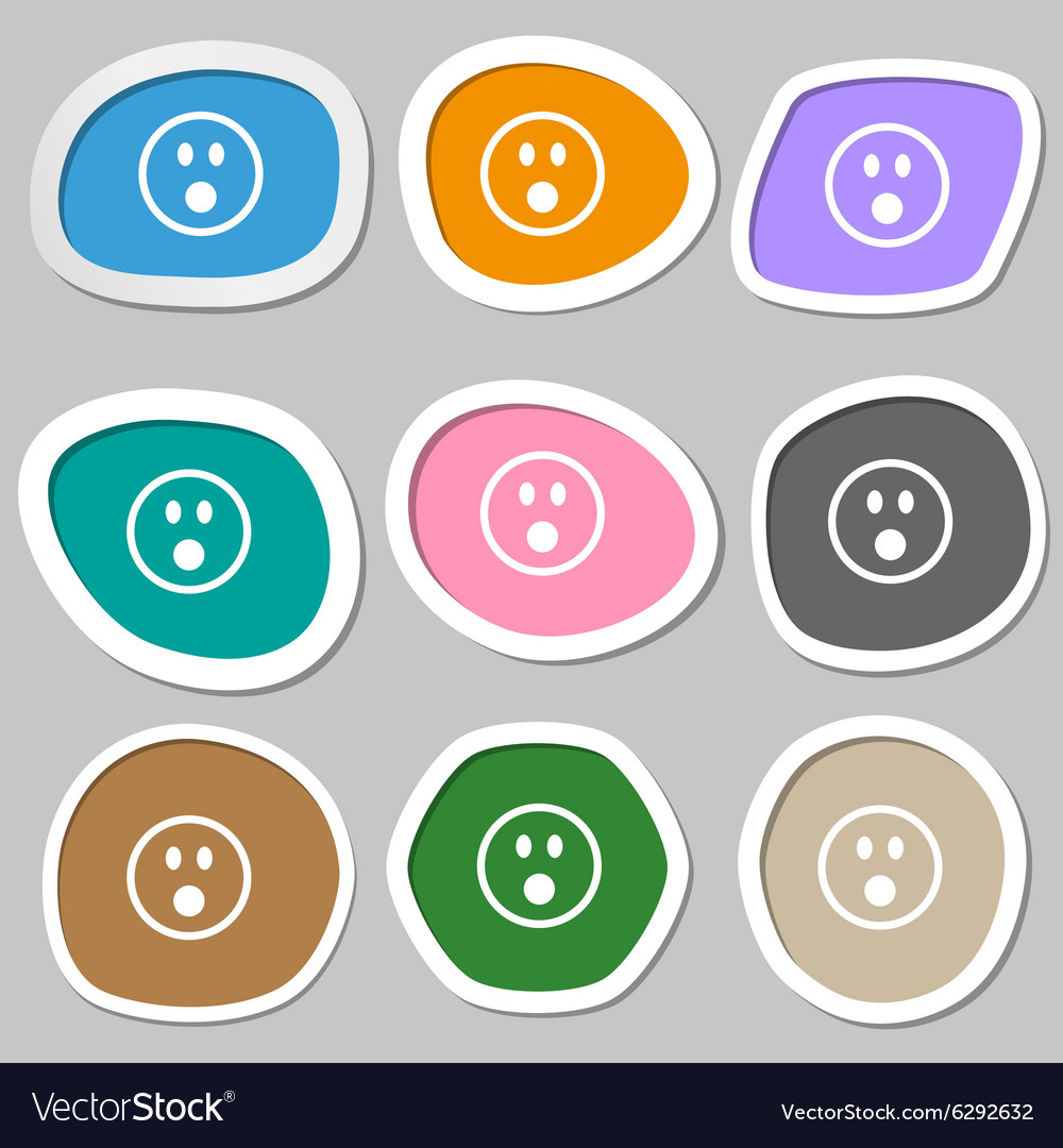 Shocked Face Smiley icon symbols Multicolored vector image