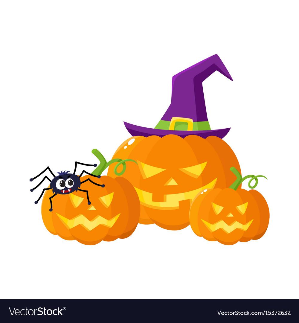 Three hallowing jack o lanterns pumpkins in