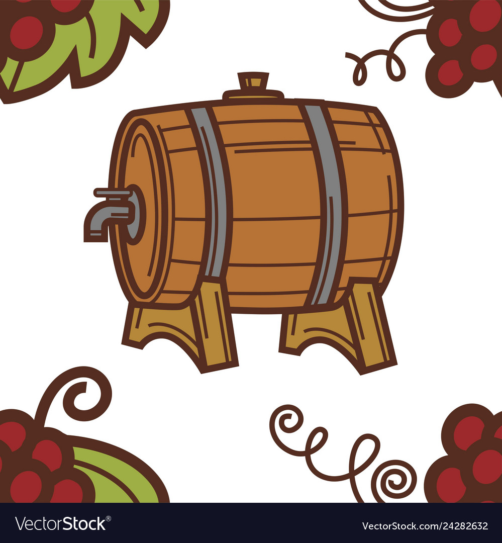 Winery wine barrel with tap grapes seamless