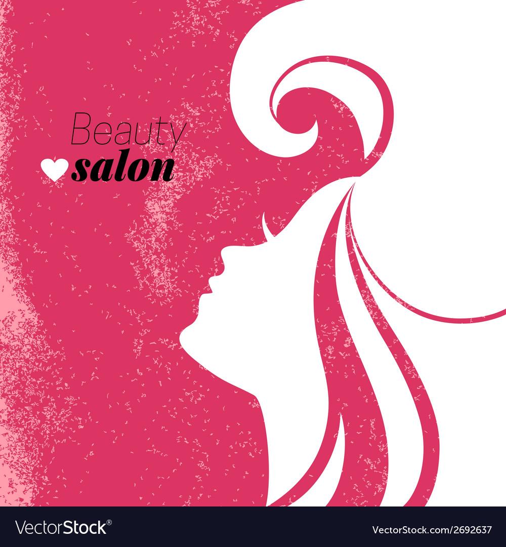 Beautiful Woman Silhouette Beauty Salon Poster Vector Image