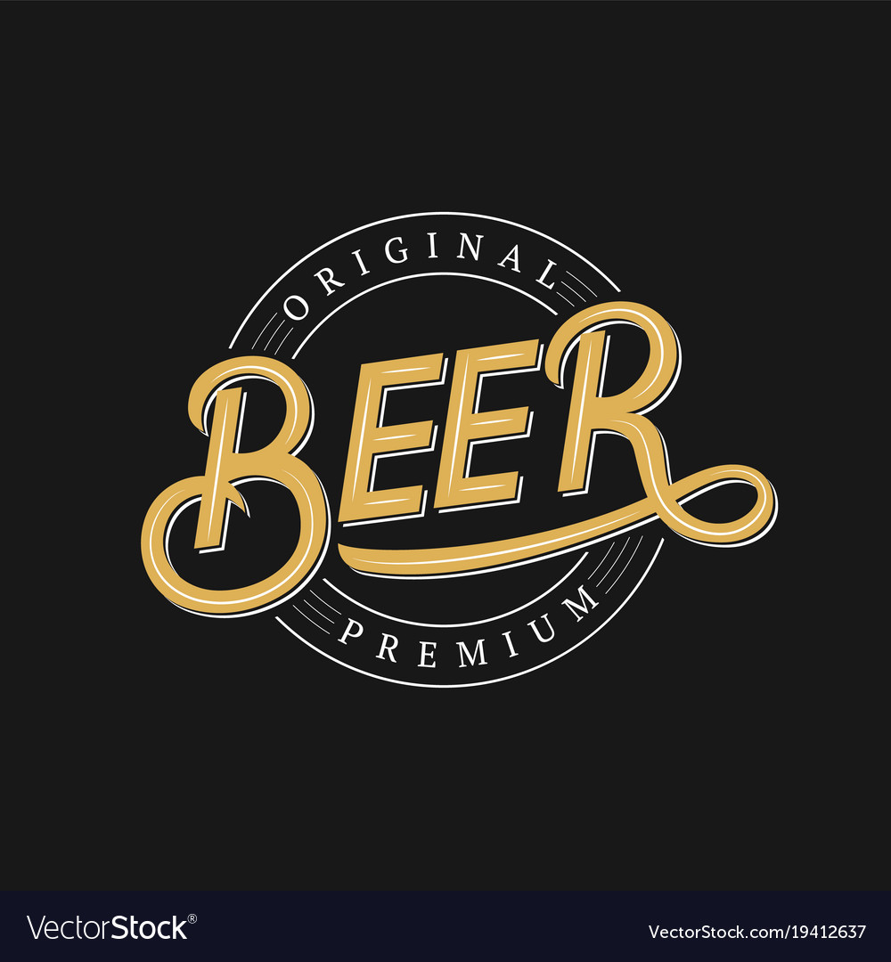 Beer hand written logo label badge template vector image