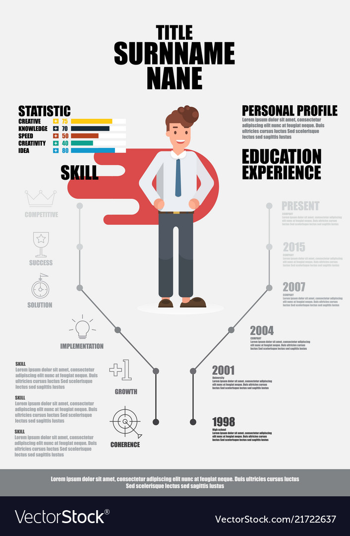 Flat Resume With Infographics Resume Royalty Free Vector