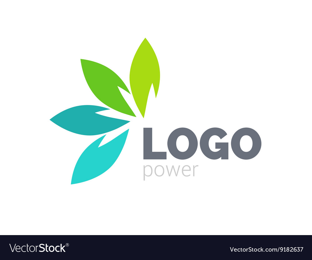 Green leaf logo design Four leaves health vector image