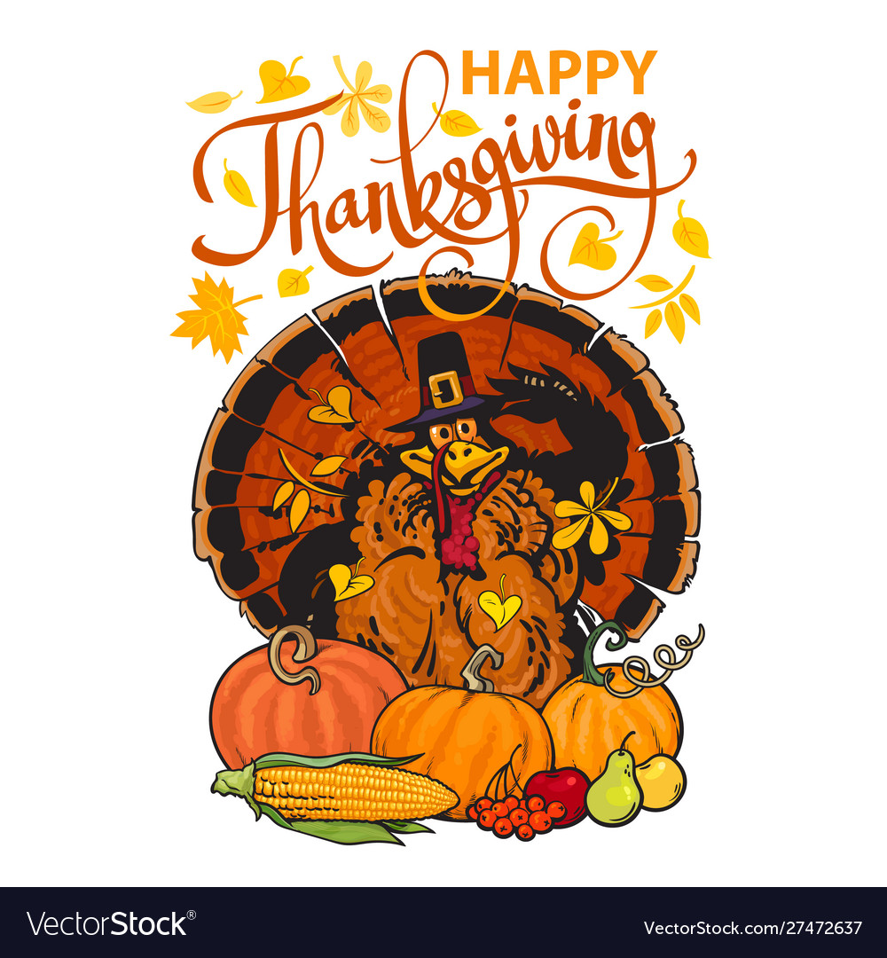 Happy thanksgiving calligraphy and cartoon