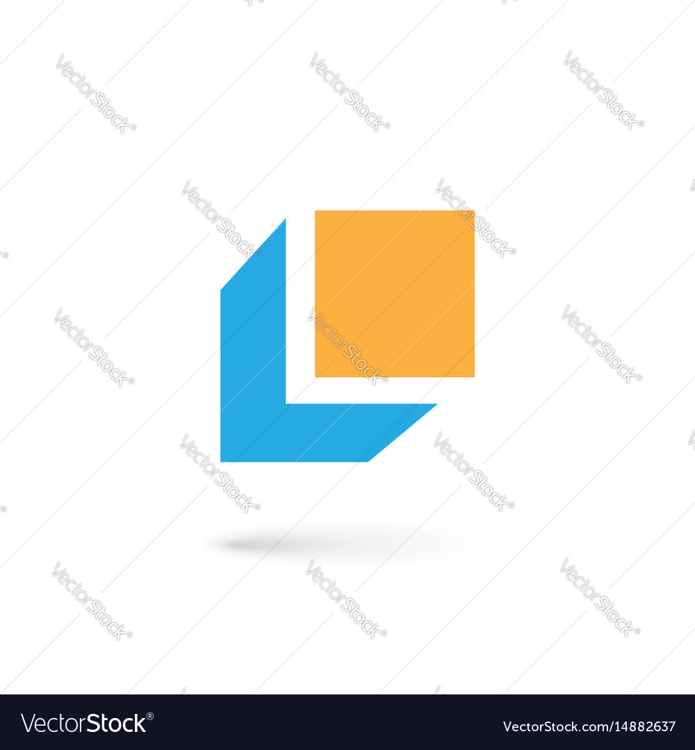 Letter l cube logo icon design template elements