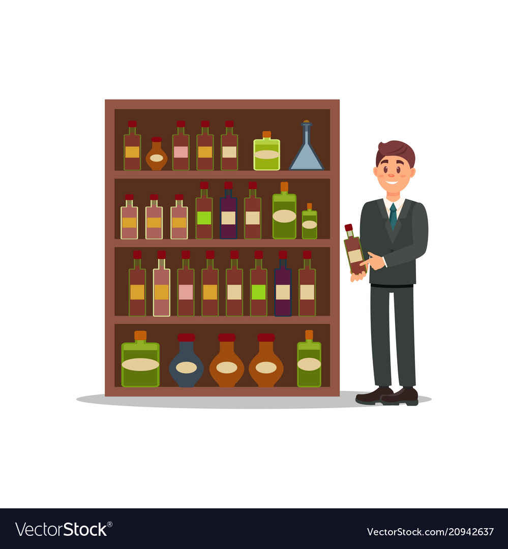 Man in formal suit standing near shelf with