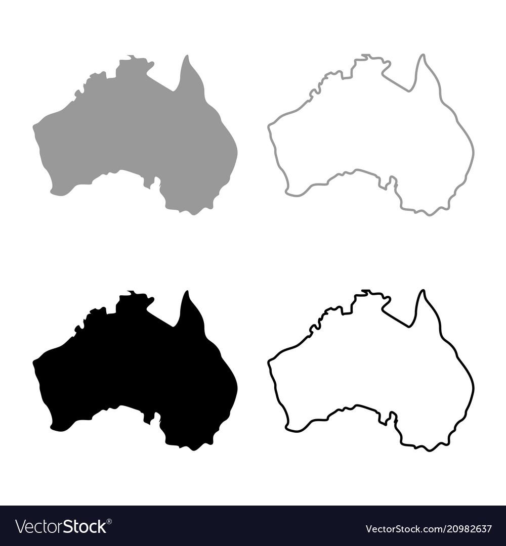 Australia Map Icon.Map Of Australia Icon Set Grey Black Color