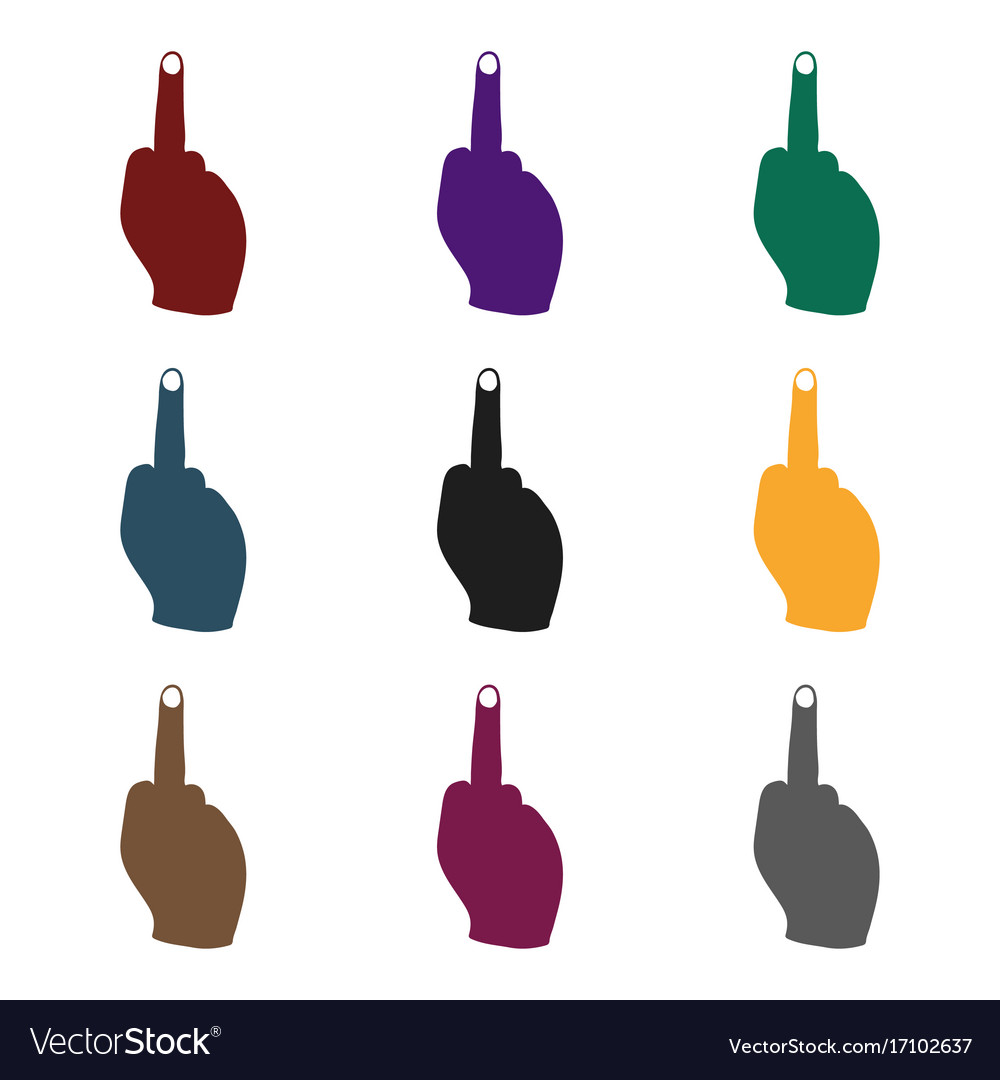 Middle finger icon in black style isolated on